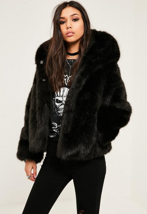 Black Hooded Faux Fur Short Coat | Missguided