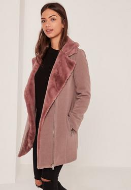 Mauve Faux Fur Lined Faux Wool Longline Biker Jacket