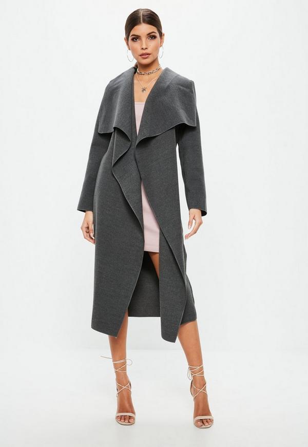 Grey Oversized Long Sleeve Waterfall Duster Coat