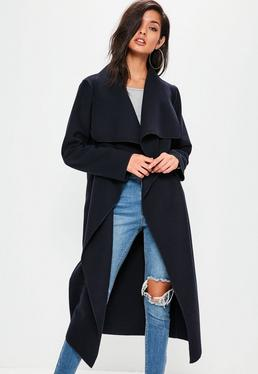 Navy Oversized Long Sleeve Waterfall Duster Coat
