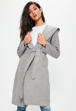 Grey Faux Wool Hooded Duster Coat
