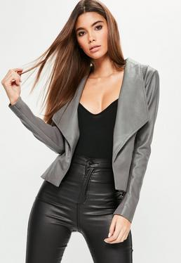 Grey Waterfall Biker Jacket