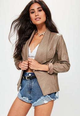 Brown Waterfall Biker Jacket