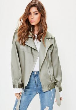 Green Satin Biker Jacket