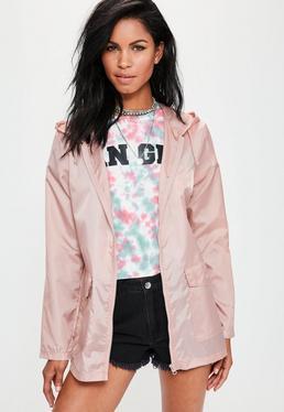 Veste imperméable rose à capuche