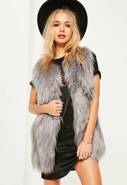 Grey Long Faux Fur Gilet