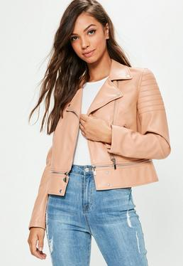 Pink Faux Leather Cropped Zip Off Biker Jacket