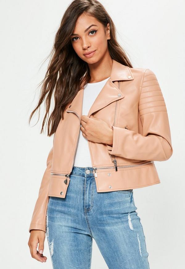 Pink Faux Leather Cropped Zip Off Biker Jacket