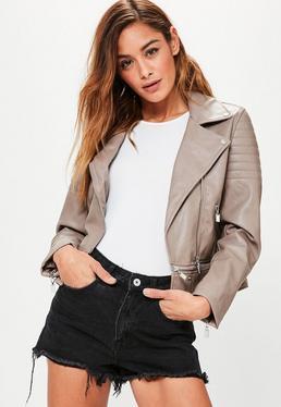 Mink Faux Leather Cropped Biker Jacket
