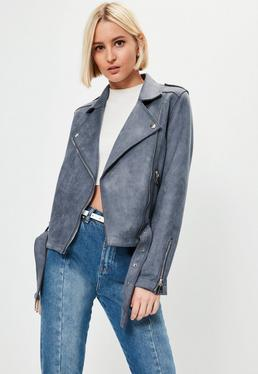 Grey Raw Edge Biker Jacket