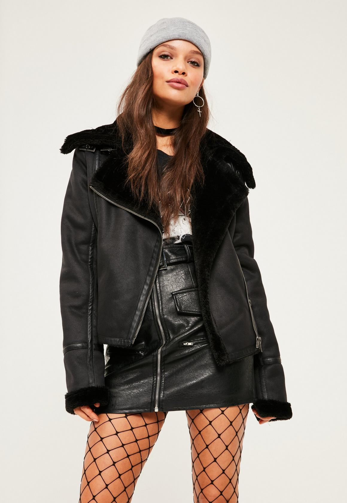 Black Faux Fur Lined Pilot Jacket | Missguided
