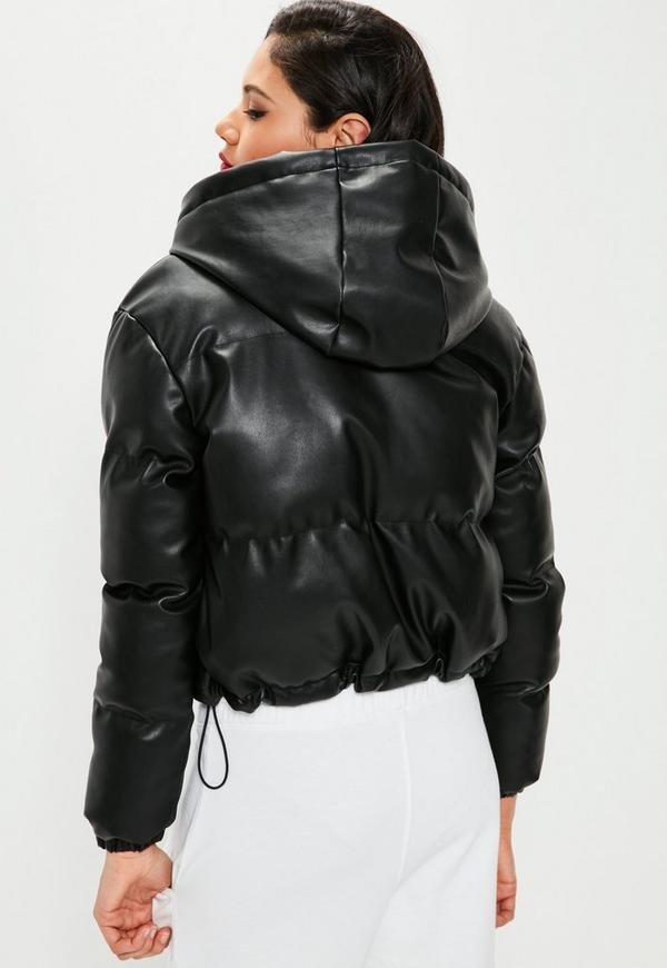 Black Cropped Faux Leather Puffer Jacket | Missguided