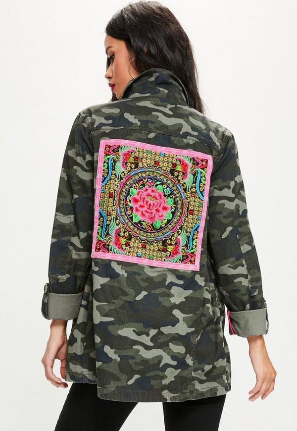 Khaki Camo Embroidered Jacket Missguided