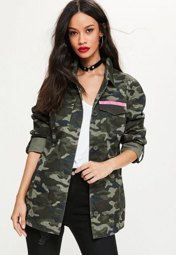 khaki camo embroidered jacket missguided. Black Bedroom Furniture Sets. Home Design Ideas