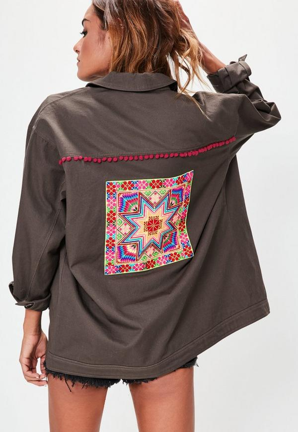 Grey Embroidered Back Jacket  Missguided
