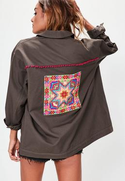 Grey Embroidered Back Jacket