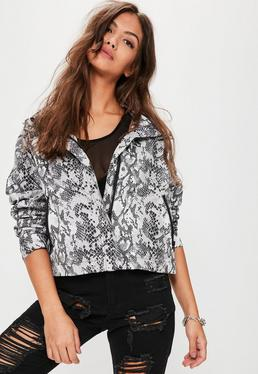 Grey Snake Print Crop Festival Rain Mac Jacket
