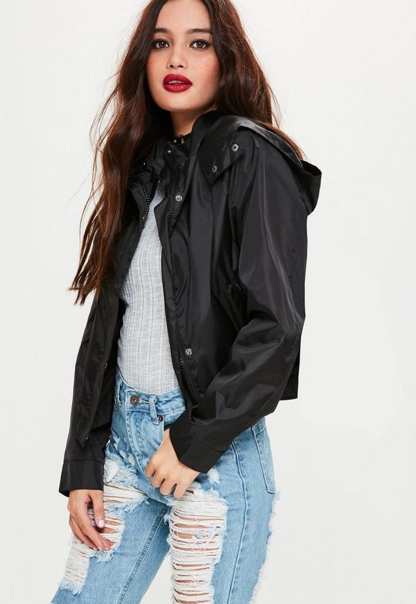 Black Cropped Festival Rain Mac Jacket