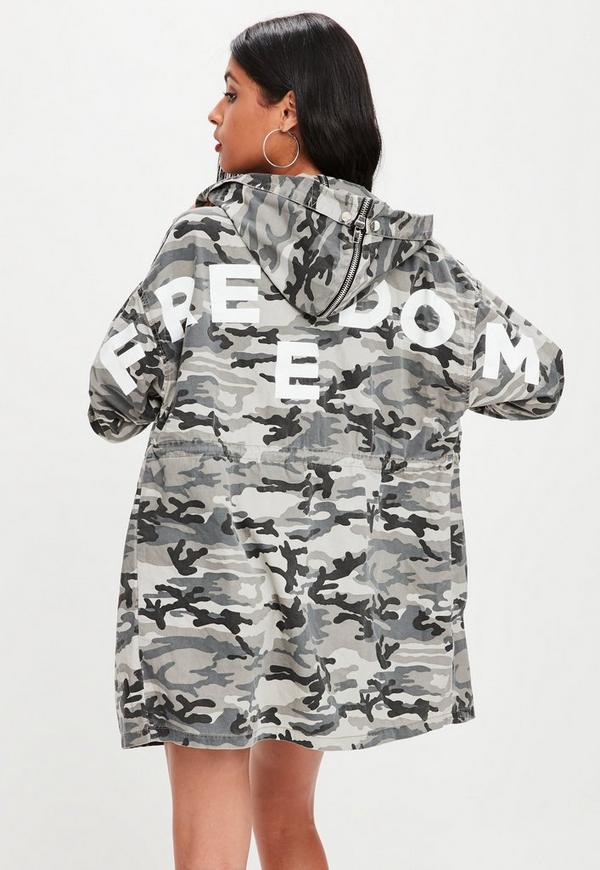 Grey Camo Parka With Slogan Jacket