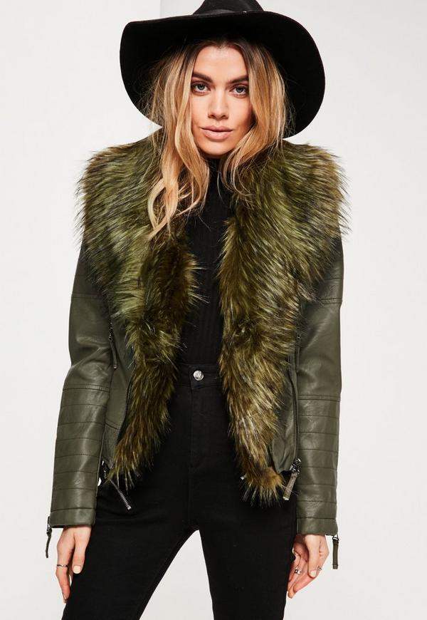 Khaki Faux Fur Collar Faux Leather Jacket | Missguided