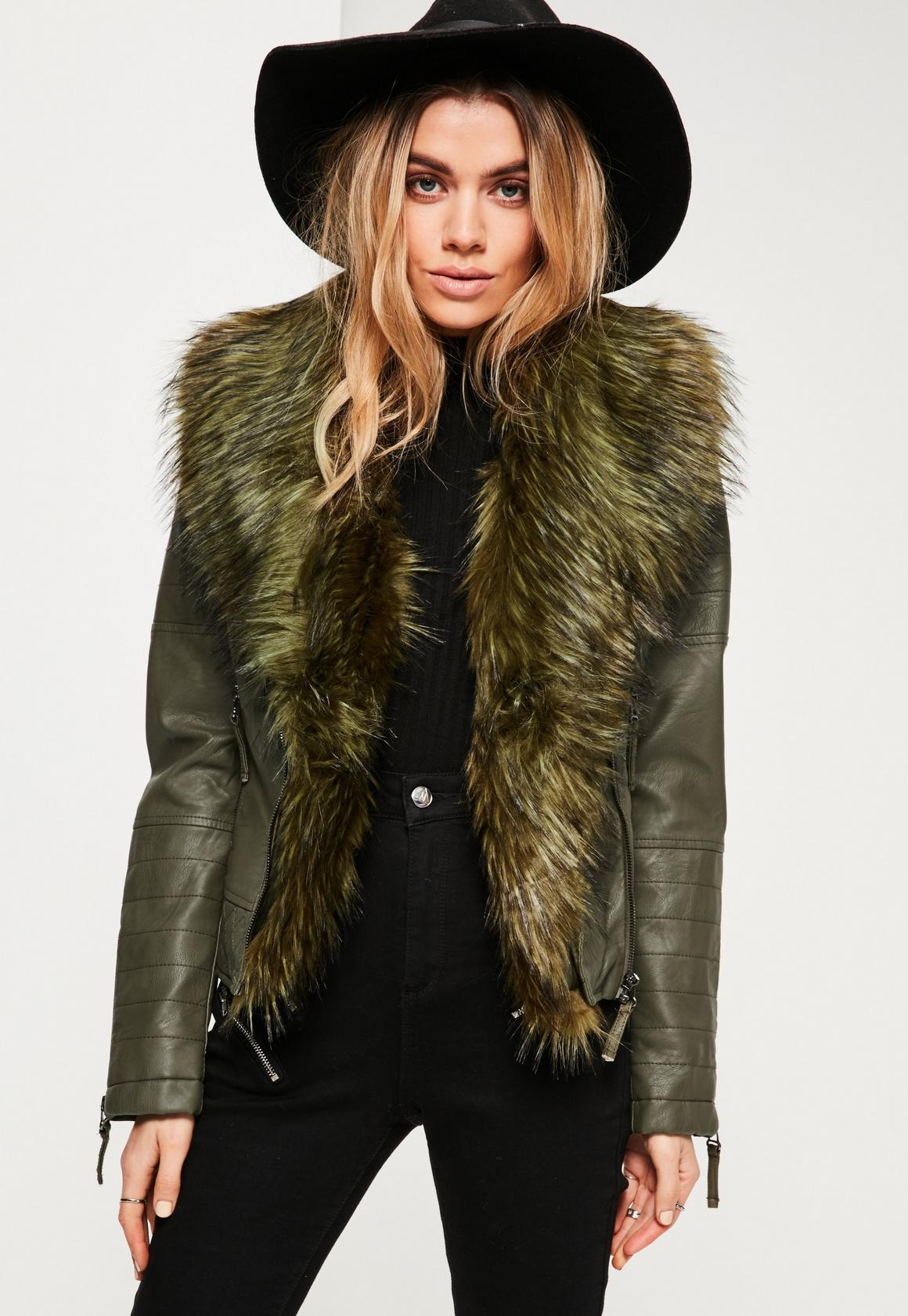 Khaki Faux Fur Collar Faux Leather Jacket | Missguided