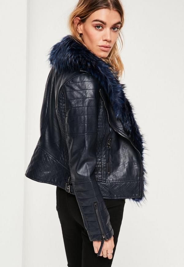 Navy Faux Fur Collar Faux Leather Jacket | Missguided