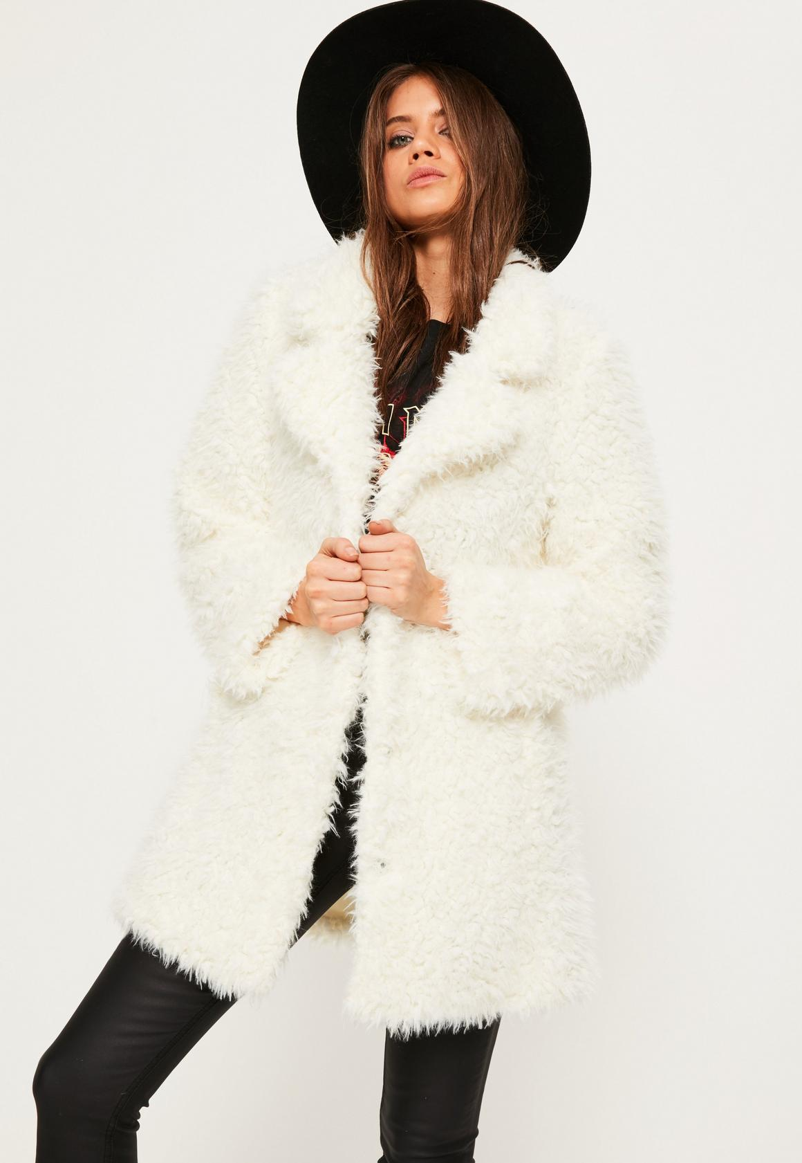 White Fur Hood Coat