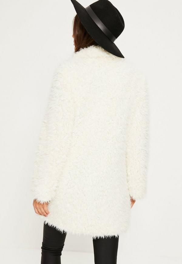 White Shaggy Faux Fur Coat | Missguided