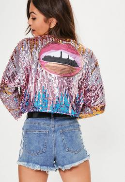 Pink Ombre Sequin Cropped Jacket