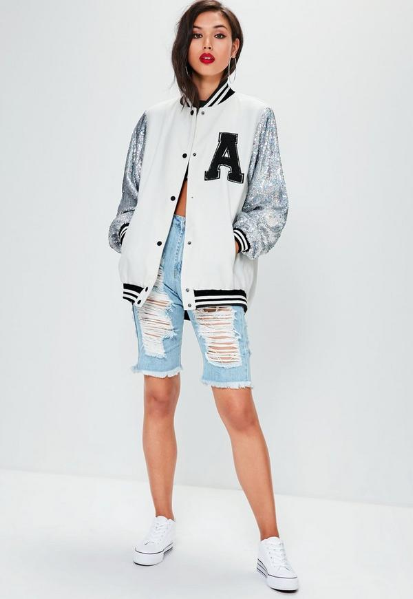 Cream Sequin Varsity Bomber Jacket | Missguided