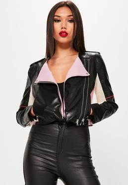 Black Colour Block Faux Leather Biker Jacket