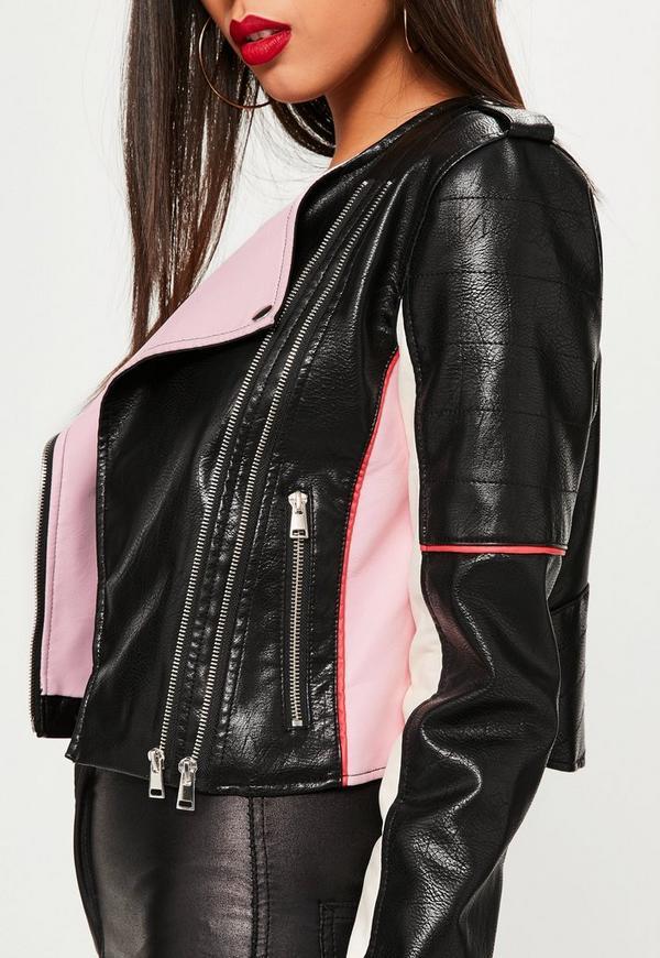 Black Colour Block Faux Leather Biker Jacket | Missguided