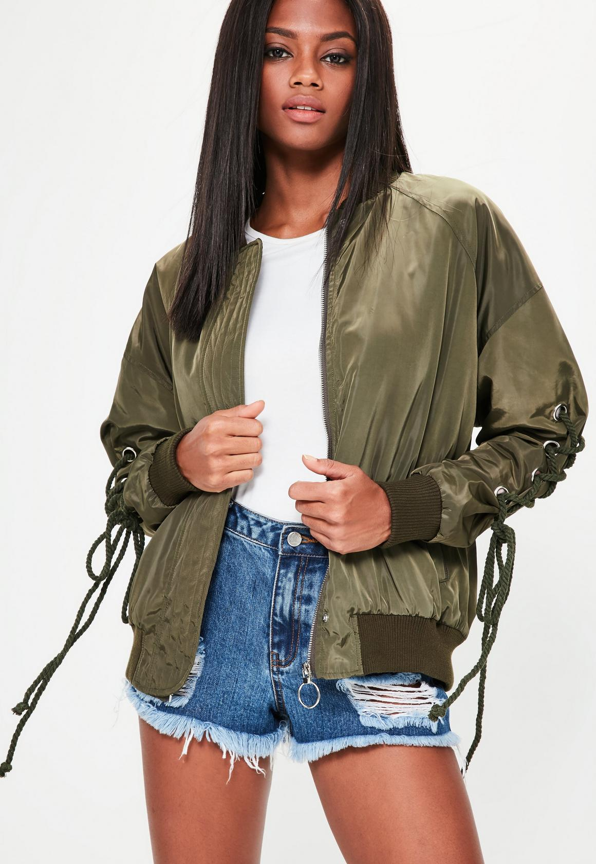 Khaki Rope Tie Bomber Jacket | Missguided