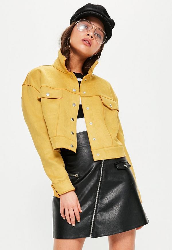 Yellow Crop Faux Suede Trucker Jacket