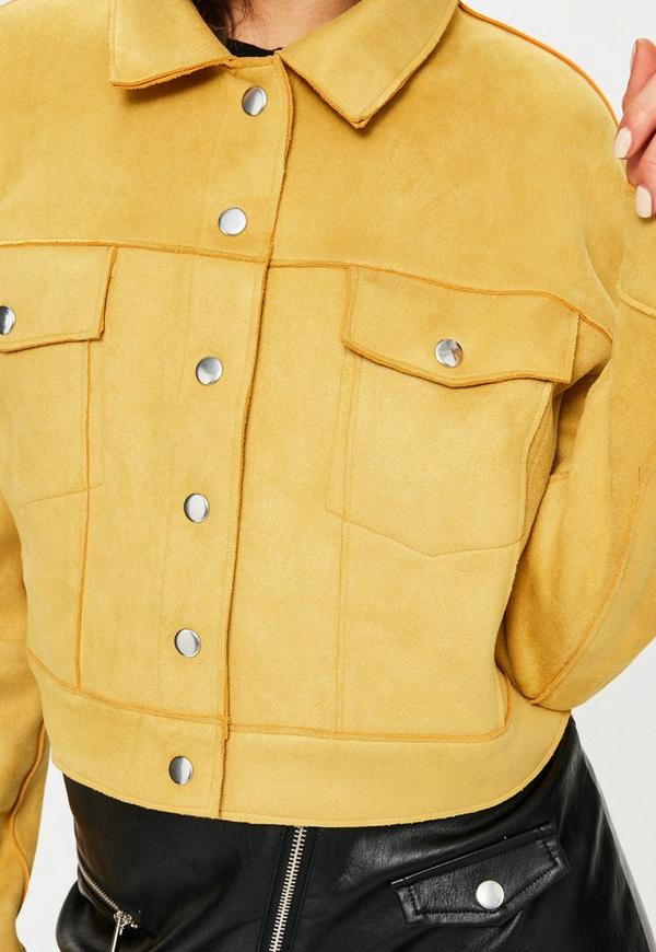 Yellow Crop Faux Suede Trucker Jacket Missguided
