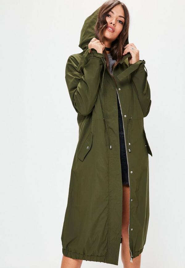 Khaki Longline Contrast Lining Long Parka Jacket | Missguided Ireland