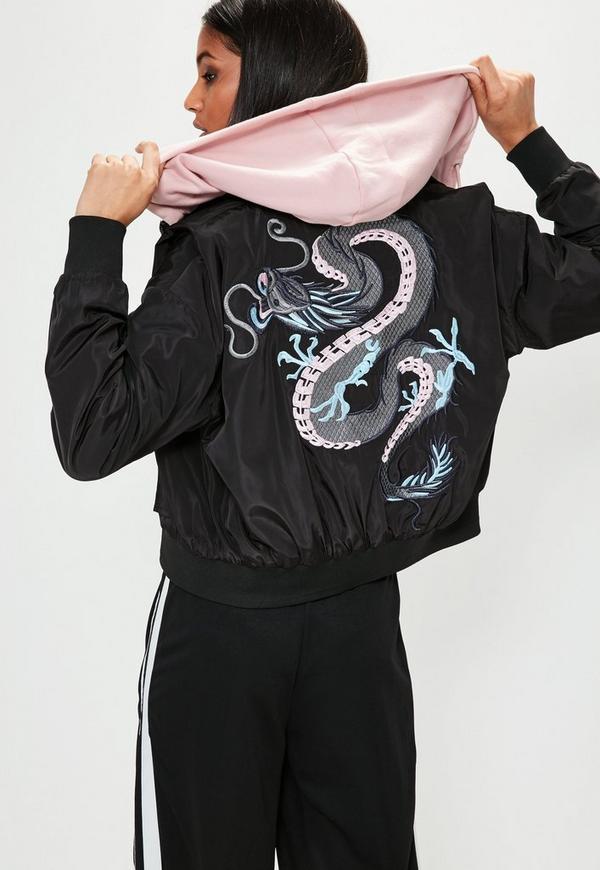 Black Embroidered Dragon Bomber