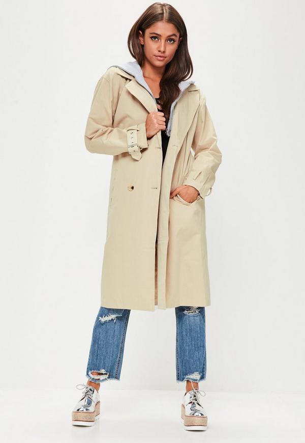 Beige Hooded Contrast Trench Coat