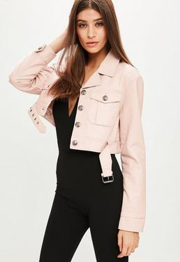 Pink Faux Leather Super Crop Trucker Jacket