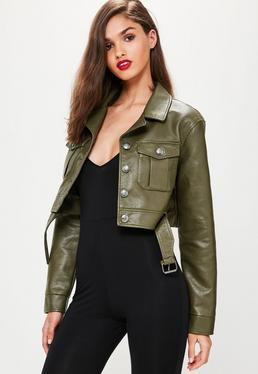 Khaki Faux Leather Super Crop Trucker Jacket