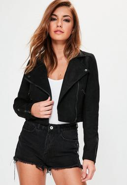 Black Suedette Crop Biker Jacket