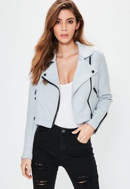 Grey Suedette Crop Biker Jacket
