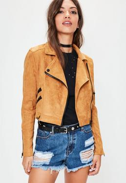 Orange Suedette Crop Biker Jacket