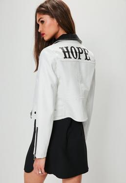 White Faux Leather Printed Crop Jacket