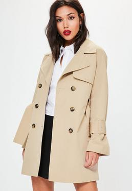 Nude Stitched Belted Mac Jacket