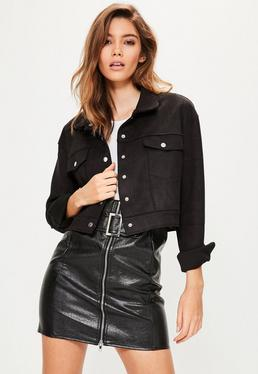 Black Faux Suede Crop Trucker Jacket