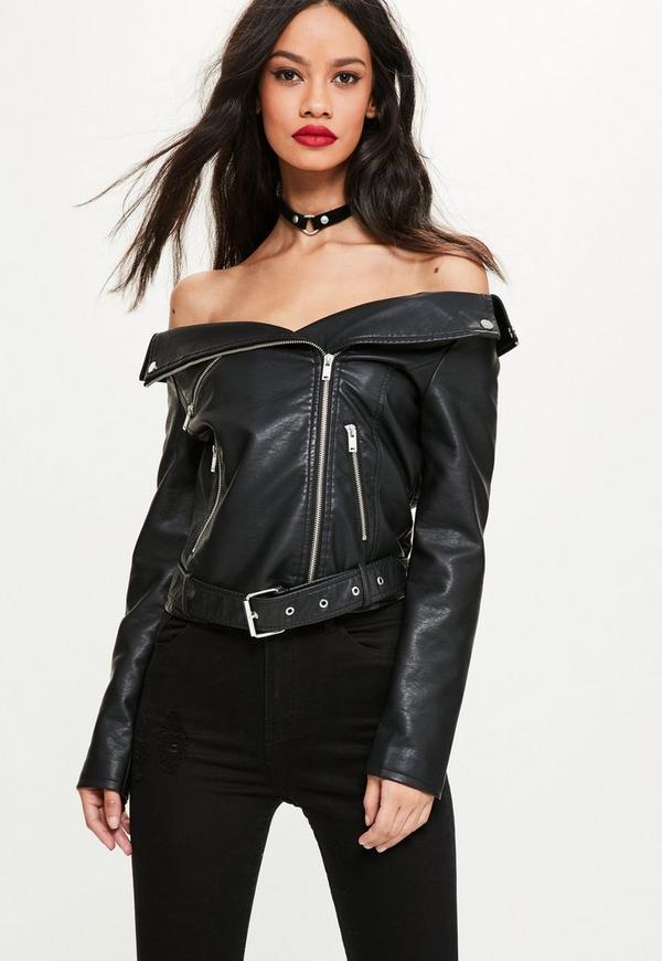 Black Faux Leather Off Shoulder Jacket