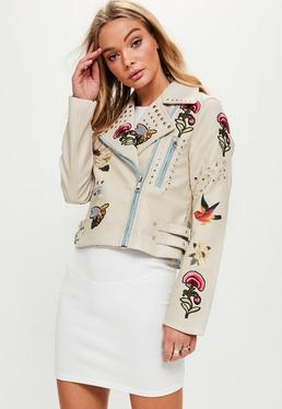 Cream Badge Biker Jacket