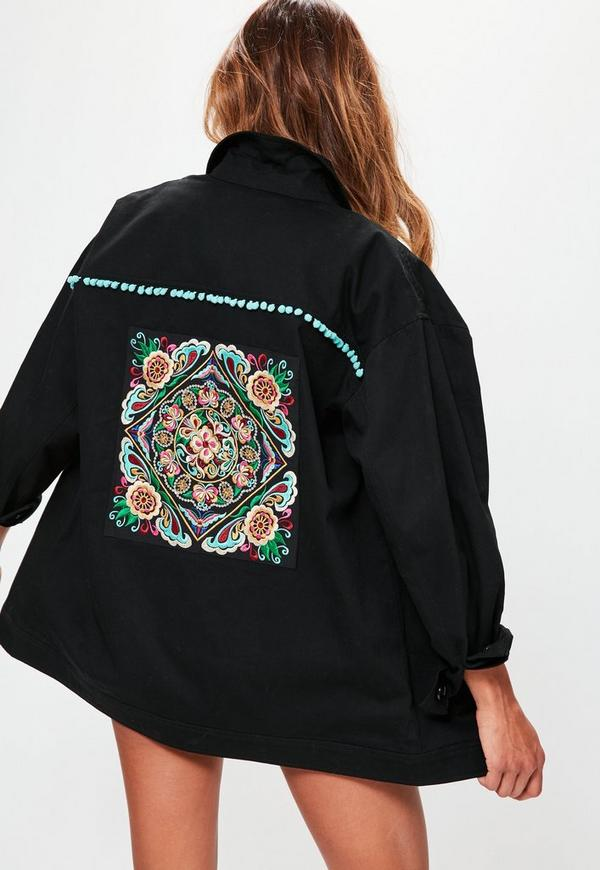 Black Embroidered Back Jacket  Missguided