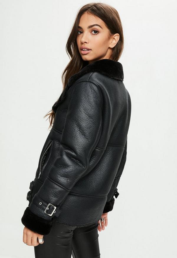 Black Aviator Jacket Missguided